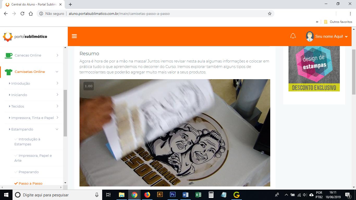 prensando camiseta curso online de sublimacao em camisetas portal sublimatico